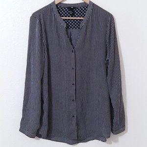 Striped Drape Long Sleeve Button Down